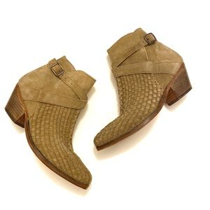 Free People Ventura Woven Suede Ankle Boot Size 7